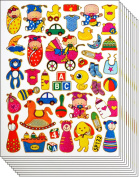Jazzstick 310 Small Glitter Cute Bear Baby and Toys Scrapbook Stickers for Kids 10 sheets 09A19