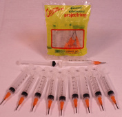 Creative Hobbies® Glue Applicator Syringe for Flatback Rhinestones & Hobby Crafts, 5 Ml with 15 Gauge Orange Precision Tip - Value Pack of 10