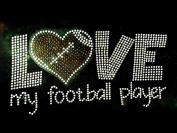 Love my Football Player RR Rhinestone Transfer Iron On