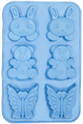 Soap Moulds - Silicone Mould- Rabbits, Bears, and Butterflies - Blue