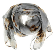 Lovely Pug Dog Printing Long Soft Voile Scarfs Scarves - Grey