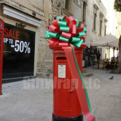 Large Car Bow, 41cm Wide - Red and Emerald Green Christmas Colours