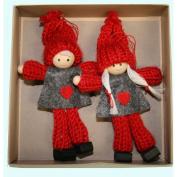 Boy and Girl Tomte Yarn Ornaments