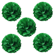 Wrapables Tissue Pom Poms Party Decorations for Weddings, Birthday Parties, Baby Showers and Nursery Decor, Kelly Green, 20cm , Set of 5