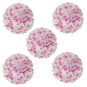 Wrapables Tissue Pom Poms Party Decorations for Weddings, Birthday Parties and Baby Showers, 20cm , Hot Pink Polka Dots, Set of 5