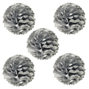 Wrapables Tissue Pom Poms Party Decorations for Weddings, Birthday Parties and Baby Showers, 20cm , Metallic Silver, Set of 5