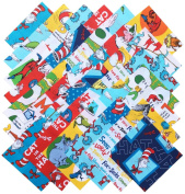 Robert Kaufman DR. SEUSS Precut 13cm Cotton Fabric Quilting Squares Charm Pack Assortment Dr Seuss