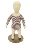 (CH06M-JF)New Child Dress Form 6 month white jersey form cover, with head, flexible arms, fingers & legs, metal base