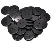 PEPPERLONELY Brand 50PC Black Resin 2 Holes Scrapbooking Sewing Buttons 23mm