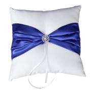 Somnr® Wedding Ceremony White Satin Ring Bearer Pillow Cushion Royal Blue Ribbon Decor