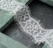 Eyelash Lace Trim, Bridal Lace, 5.1cm by 3-Yards, White, ROI-10984