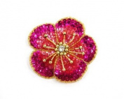 New Garden Sequin Flower (small) By Shine Trim - Fuschia/gold
