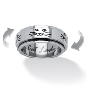 PalmBeach Jewellery 5283510 Cat Lady Spinner Ring in Black IP Stainless Steel Size 10