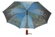 Conch Umbrellas 3899NY 110cm . Automatic Open 3 Fold Compact Umbrella With Ny Sightseeing Design - Navy