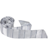 Matching Tie Guy 2871 S4 HT - 110cm . Child Matching Hair Tie - Grey & Silver With Stripes