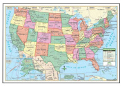 Universal Map 15008 100cm x 70cm Us Laminated - Rolled Map