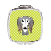 Carolines Treasures BB1291SCM Checkerboard Lime Green Saluki Compact Mirror 2.75 x 3 x .7.6cm .