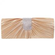 ILISHOP Women's Pleated Satin Clutch Rhinestine Crystal Baguet Evening Handbag Purse