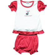 Lil Cub Hub 002LCHCOFR-1824 White & Fuchsia Short Sleeve Blouse with Bloomers Set - Raccoon 18-24 months