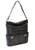 R And R Collection 2-273-1k-Blk Front 2 Pocket Turn Lock Hand Bag Black