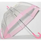 Elite Rain Frankford RB01-PK Clear Bubble Umbrella Pink Trim