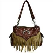Ritz Enterprises GN103-BN Chic Western Design Fringe Shoulder Bag With Floral Trim Brown
