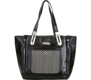 Aryana Mish-5-Bk Chic Black Chevron Print Structured Dual Strap Womens Purse