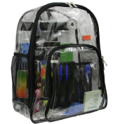 Harvest LM213 BLK Deluxe 17 in. See-through Clear 0.5 mm. PVC Backpack