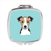 Carolines Treasures BB1199SCM Checkerboard Blue Jack Russell Terrier Compact Mirror 2.75 x 3 x .7.6cm .
