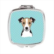 Carolines Treasures BB1199SCM Checkerboard Blue Jack Russell Terrier Compact Mirror 2.75 x 3 x .7.6cm .
