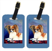 Carolines Treasures 7038BT Sable Papillon With A Butterfly And Rose Luggage Tags Pack - 2