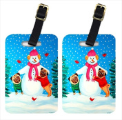 Carolines Treasures 7115BT Snowman With Pug Luggage Tags Pack - 2