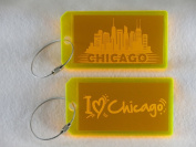 Destinations Neon Acrylic I.D. Tag - Chicago Yellow