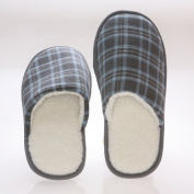 Living Health Products CCWF-7-8-BLUE Mens House Slippers -memory Foam - Blue Chequered Cotton - Wool Fleece Lining 7-8 - Blue