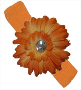 CoverYourHair 20578 Orange Stretchy Baby Headband with Orange Daisy Flower
