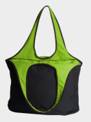 Peerless VEST001-Black-Lime Village Zipper Tote Bag Black And Lime