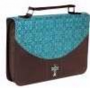 Christian Art Gifts Inc. 368288 Bible Cover - Luxleather and Micro Fibre - Medium - Turquoise & Brown
