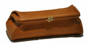 Budd Leather 552201L-3 Framed Lizard Calf Cosmetic Case - Tan