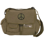 Fox Outdoor 43-074 Retro Messenger Bag With Peace Emblem - Olive Drab