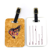 Carolines Treasures 8858BT 10cm x 7cm . Pair of Butterfly on Gold Luggage Tag