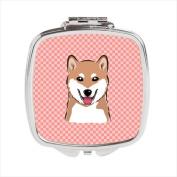 Carolines Treasures BB1225SCM Checkerboard Pink Shiba Inu Compact Mirror 2.75 x 3 x .7.6cm .