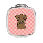 Carolines Treasures BB1234SCM Checkerboard Pink Chocolate Labrador Compact Mirror 2.75 x 3 x .7.6cm .