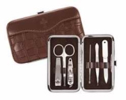 Brownlow Gift 102804 Manicure Set Faux Croc With Cross - Brown 6 Tool Set
