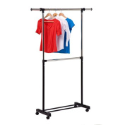 Honey-Can-Do GAR-01767 double bar garment rack chrome/black