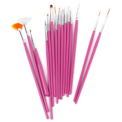 15 x Nail Art Design Painting Pen / Brush Set - Pink