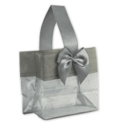 Deluxe Small Business Sales B788-40 3.25 x 8.3cm x 5.1cm . Satin Bow Mini Totes Silver