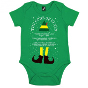 Unofficial Code Of Elves Novelty Christmas Buddy The Elf Xmas Short Sleeve Babygrow