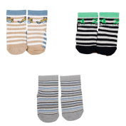 Baby Socks ABS Anti-Slide Socks with Silicone Soles - Set of 3 Pairs - Blue Grey - Size M