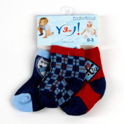 Boys' Baby Socks SKC-3, Checked Pattern, Age 0-3 Months, Pack of 3 Pairs