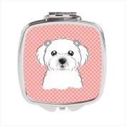 Carolines Treasures BB1208SCM Checkerboard Pink Maltese Compact Mirror 2.75 x 3 x .7.6cm .